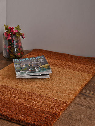 Golden and Brown Hand Loom Wool and Cotton Carpet (2ft 10in x 1ft 11in)