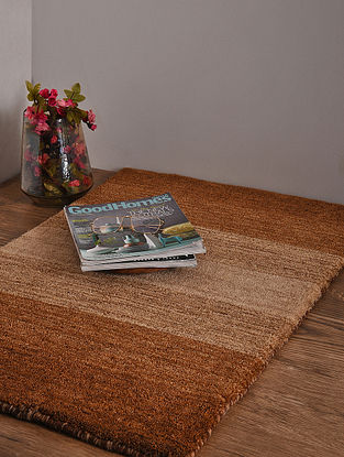 Beige and Brown Hand Loom Wool and Cotton Carpet (3ft x 2ft)