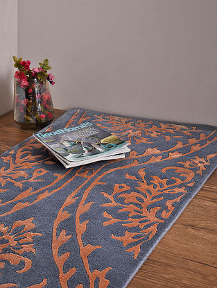 Nepali Blue and Red Hand Knotted Wool and Cotton Carpet (6ft x 2ft 3in)