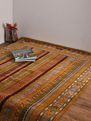 Golden Hand Knotted Wool and Cotton Carpet (5ft 10in x 4ft)