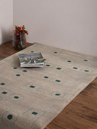 Loribaft Beige and Green Hand Knotted Wool and Cotton Carpet (4ft 9in x 3ft)