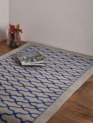 Loribaft Beige and Navy Hand Knotted Wool and Cotton Carpet (4ft 11in x 3ft)