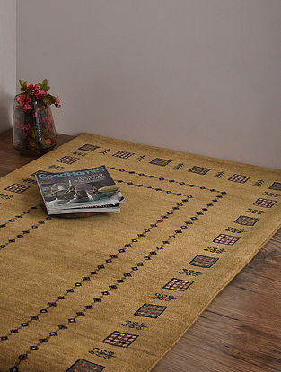 Loribaft Golden Hand Knotted Wool and Cotton Carpet (5ft 1in x 3ft)