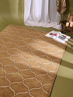 Nepali Golden Hand Knotted Wool and Cotton Carpet (5.11ft x 4.1ft)