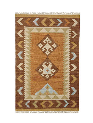 Brown-Multicolor Handmade Wool Kilim Rug