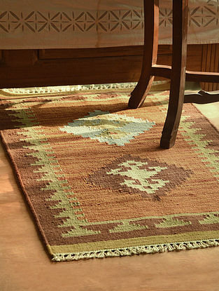 Brown-Multicolor Handmade Wool Kilim Rug