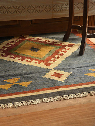 Blue-Multicolor Handmade Wool Kilim Rug