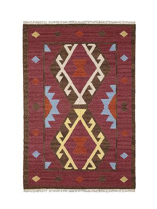 Maroon-Multicolor Handmade Wool Kilim Rug (4.2ft x 3.9ft)