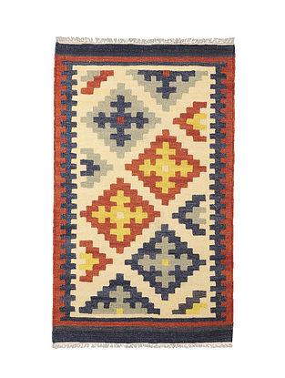 Beige-Multicolor Handmade Wool Kilim Rug