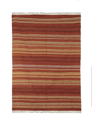 Brown-Multicolor Handmade Wool Kilim Rug (7.11ft x 8.6ft)