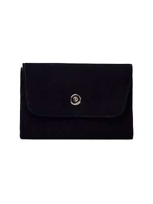 Black Hand-Crafted Suede Clutch