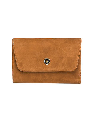 Tan Hand-Crafted Suede Clutch
