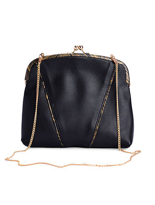 Black Hand-Crafted Leather Framed Clutch with Detachable Sling