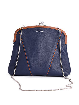 Blue Hand-Crafted Leather Framed Clutch with Detachable Sling