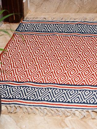 Samarkand Diamond Red Cotton Rug (36in x 23.5in)