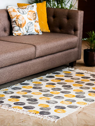 Morocoo Spiral Yellow and Grey Cotton Rug (61in x 35in)