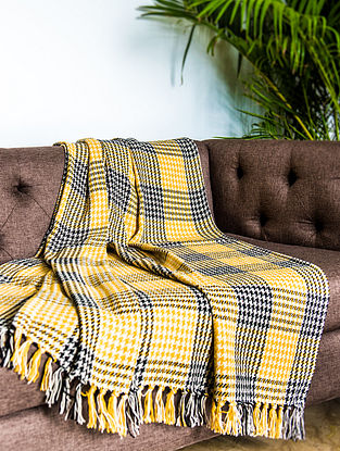 Morocco Blocks Yellow and Black Cotton Throw (64in x 51in)
