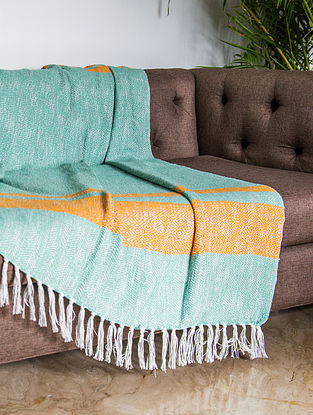Samarkand Subtle Green and Yellow Cotton Throw (60in x 50in)