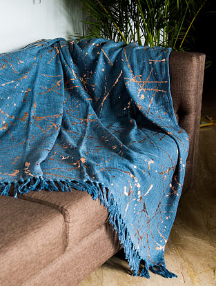 Greece Foils Blue and Copper Cotton Throw (58in x 52in)