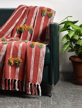 Samarkand Stripes Red and Taggel Cotton Throw (61in x 50in)