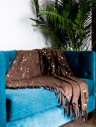 Navroz Foil Brown and Gold Cotton Throw (58in x 47in)