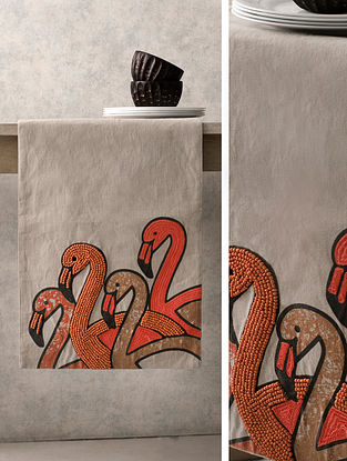 Samarkand Swan Beige-Multicolor Cotton Table Runner (71in x 16in)