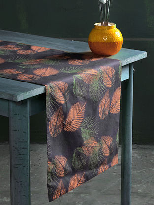 Samarkand Autumn Grey-Multicolor Cotton Table Runner (71in x 16in)