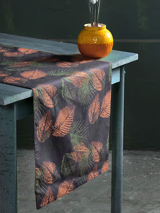 Samarkand Autumn Grey-Multicolor Cotton Table Runner (55in x 16in)