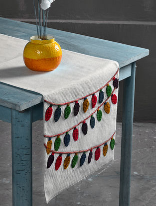 Navroz Lights Off-White-Multicolor Cotton Table Runner (72in x 16in)