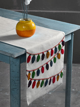 Navroz Lights Off-White-Multicolor Cotton Table Runner (55in x 16in)