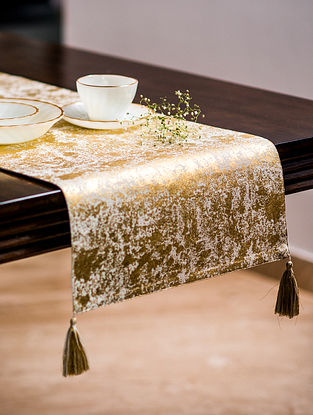 Navroz Hues Beige and Gold Cotton Table Runner (72in x 16in)