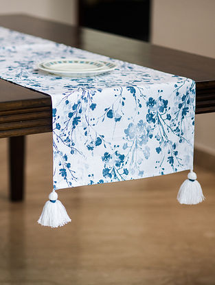 Greece Green and Blue Cotton Table Runner (72in x 16in)