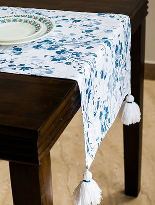 Greece Green and Blue Cotton Table Runner (55in x 16in)