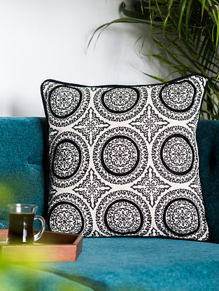 Denmark Circles Black and White Cotton Cushion Cover (16in x 16in)