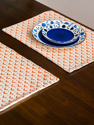 Denmark Mud White and Orange Cotton Table Mats (19in x 13in)