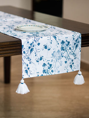 Greece White and Blue Cotton Table Runner