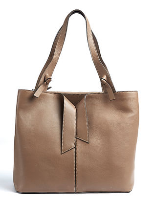 Brown Handcrafted Genuine Leather Tote Bag