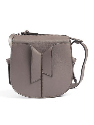 Taupe Handcrafted Genuine Leather Sling Bag