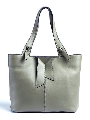 Olive Handcrafted Genuine Leather Tote Bag