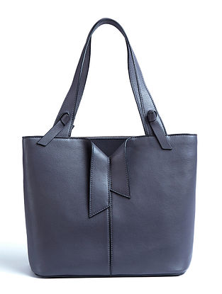 Grey Handcrafted Genuine Leather Tote Bag