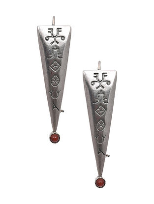 Tribal Silver Earrings with Carnelian
