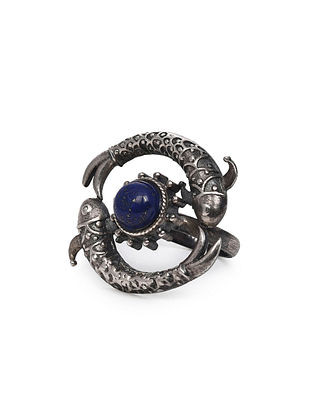 Tribal Silver Adjustable Ring with Lapis Lazuli