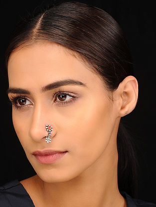 Red Tribal Silver Nose Clip