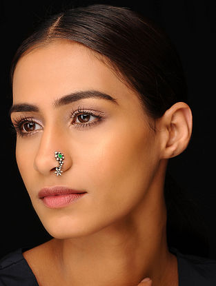 Green Tribal Silver Nose Pin