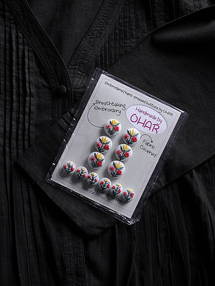 Thread-embroidered Fabric Dress Material Buttons (Set of 12)