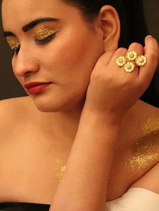 Gold Plated Handcrafted Ring With Pearls