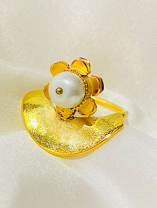 Gold Plated Handcrafted Ring With Pearl