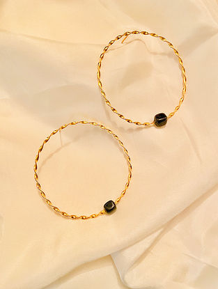 Onyx Gold Plated Handcrafted Hoop Earrings
