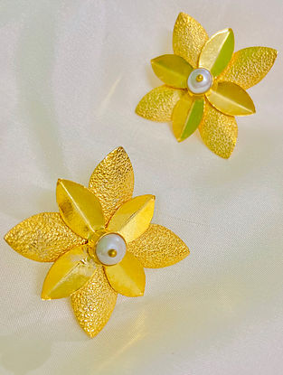 Gold Plated Handcrafted Earrings With Pearls