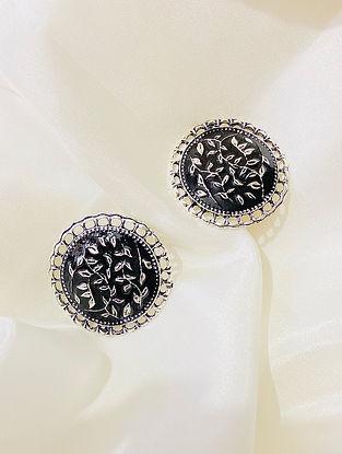 Black Silver Plated Enameled Earrings